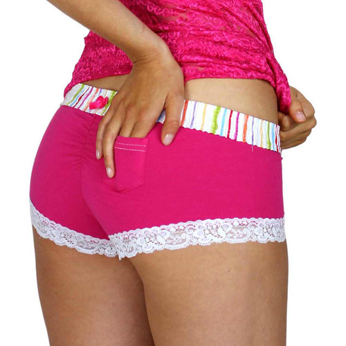 Pink Boy Short Panties with Lace Trim