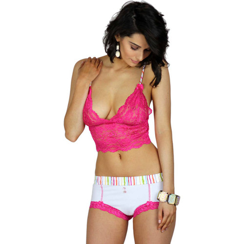 Watercolors White Boyshorts and Pink Lace Bralette Cami Top