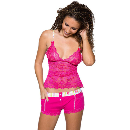 Jordan in Foxers Pink Watercolors Boxer Briefs an Matching 2 Row Lace Cami