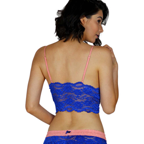 Blue Lace Bralette Cami Top with Coral Straps