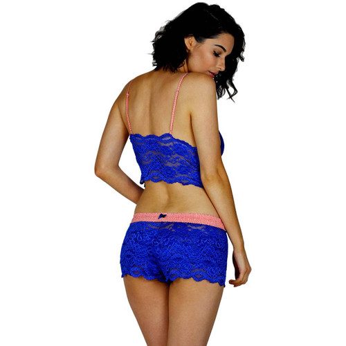 Royal Blue Bralette With Matching Coral Reef Lace Panties