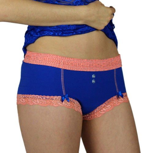 Royal Blue Boyshort Panties with Coral Reef Waistband | Foxers