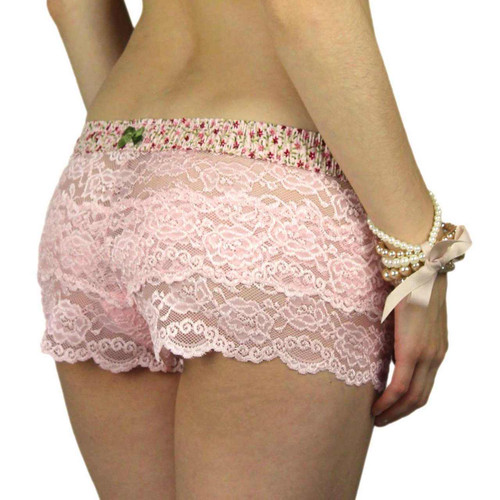 Pink Lace Boxers with Pink Posies Waistband
