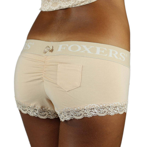 Our Boyshorts back featues a slight ruching, lipstick pocket lace trimmed legs and a small bow on the waistband.