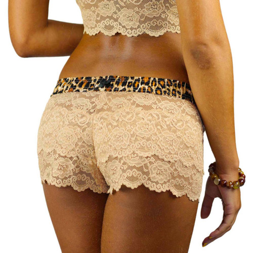 FOXERS Sand Lace Boxer with leopard print waistband