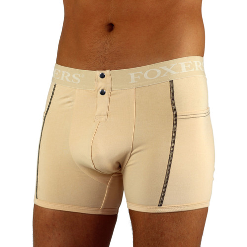 Men's Nude Boxer Brief with Pockets | FOXERS Logo Waistband