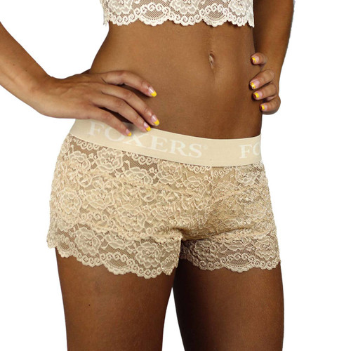 These nude lace boxers pair a butter soft lace with a very comfortable flat waistband with FOXERS logos.