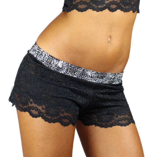 Ladies Lace boxers with Feather Waistband