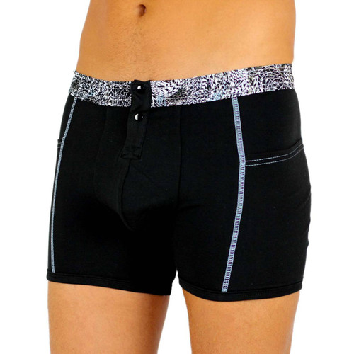 Men's Black Boxer Brief with FOXERS Feather Print Waistband