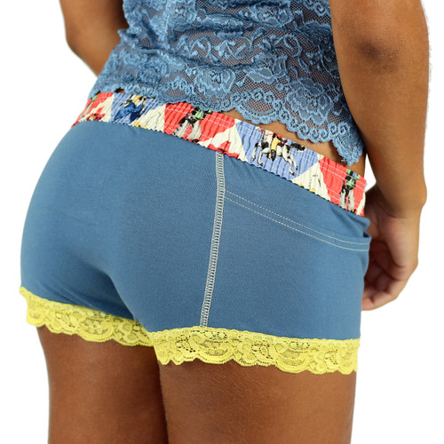 "Retro Cowboy Cartoon ""Rodeo"" waistband on our Boxer Briefs for Girls"
