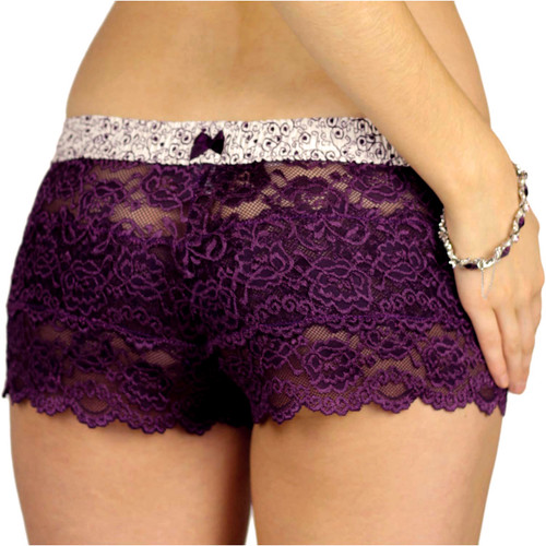 Plum Perfect Lace Boxers with Plum Scroll Waistband
