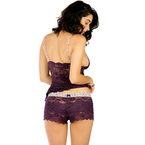 Plum Purple Lace Nightie with Scroll Print Straps
