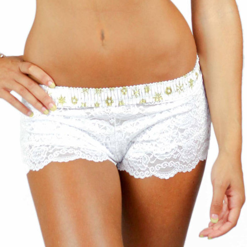White Lace Boxers with Frozen Gold Waistband