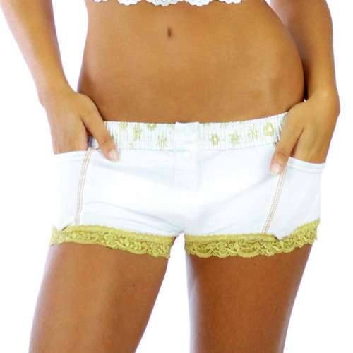 Frozen Gold White Boxer Briefs with Pockets