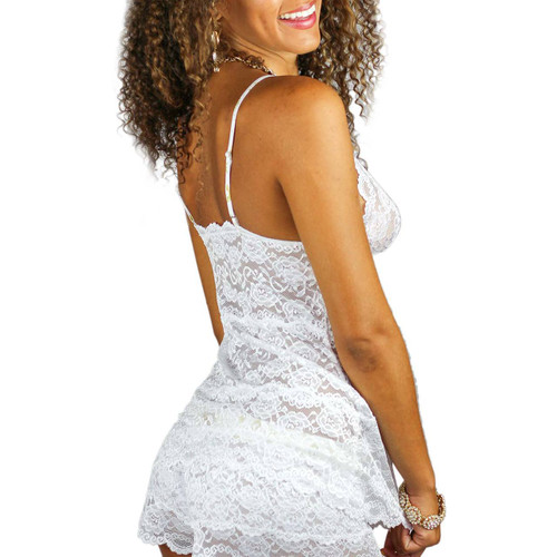 Hip Length White Lace Negligee with Frozen Gold Straps