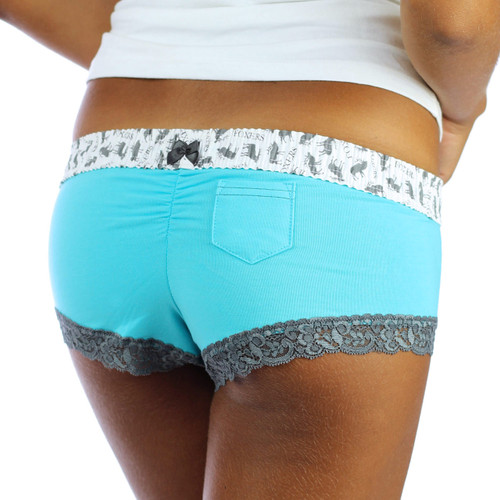 Turquoise Boyshorts with Gray Lace Trim