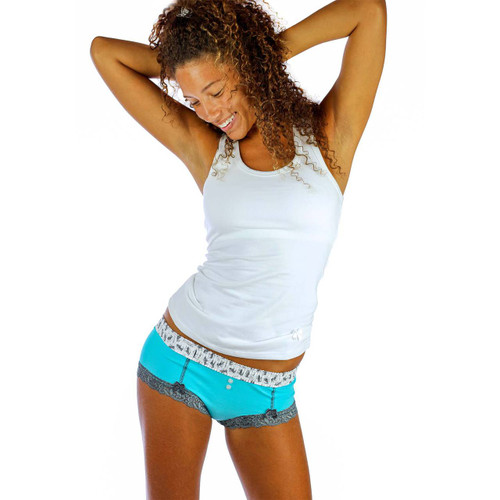 Santorini Blue Boyshort Panties and our White Racerback Tank