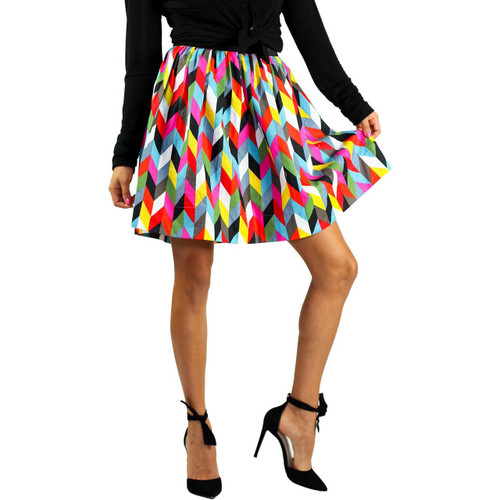 Kaleidoscope Print Skirt With Pockets (FXSKT-85)
