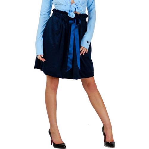 Dark Blue  Velour Skirt With Pockets (FXSKT-145)