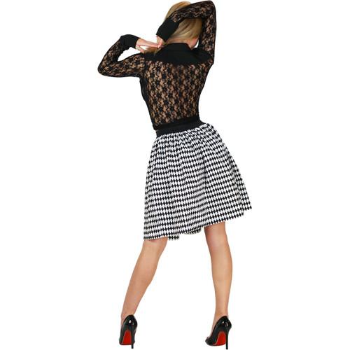 Black & White Diamond Print Skirt With Pockets
