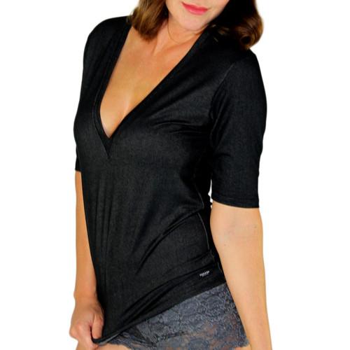 Deep V Black Denim T-Shirt