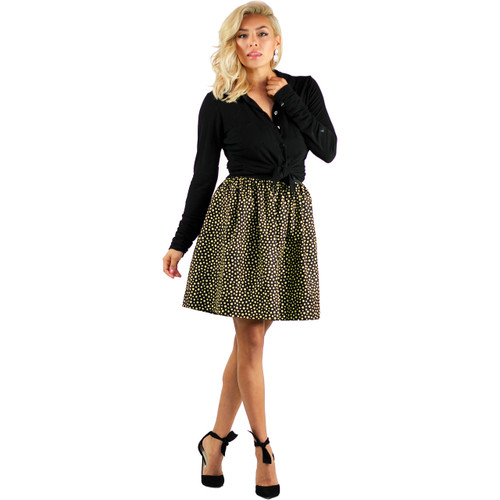 GT Inspired Black Skirt with Yellow Spots and Pockets.