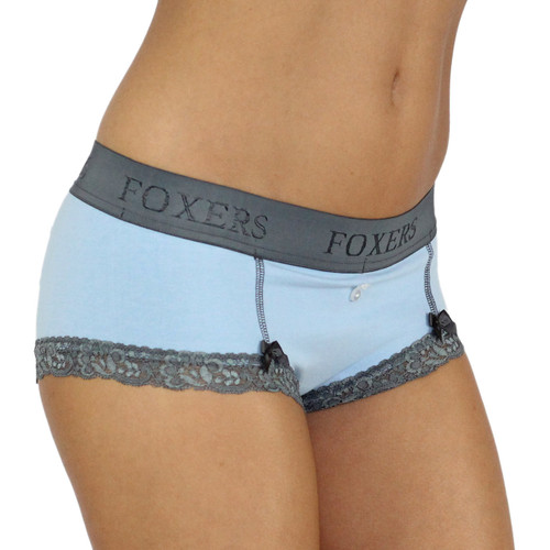 Light Blue Boyshorts Panties with Chargray Foxers Logo Waistband