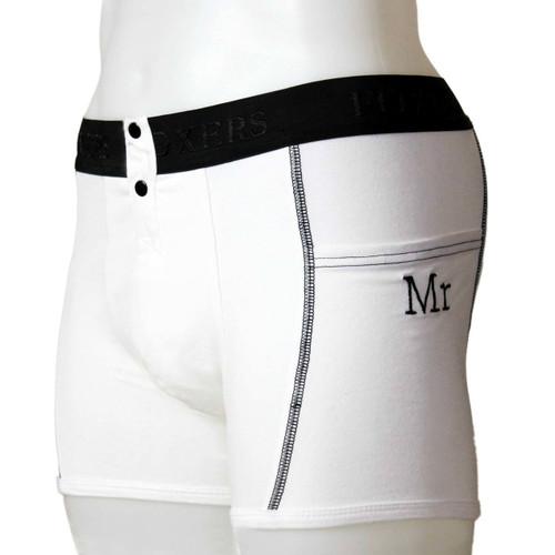 Men's White Tuxedo Boxer Briefs