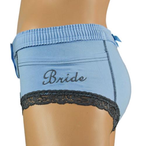 Light Blue Women's Boxer Briefs Bridal Panties