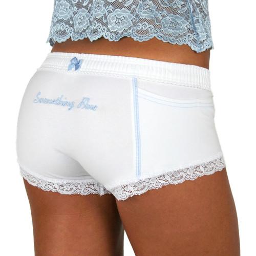 """""""Something Blue"""" Monogrammed White Bridal Panties"""