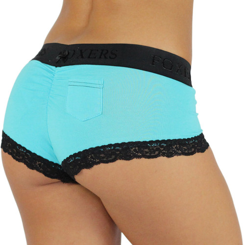 Santorini Blue Cotton Boyshorts with Foxers Logo Flat Waistband