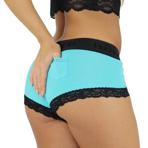 Women's Santorini Blue Boyshort Panties | Black Foxers Smooth ...