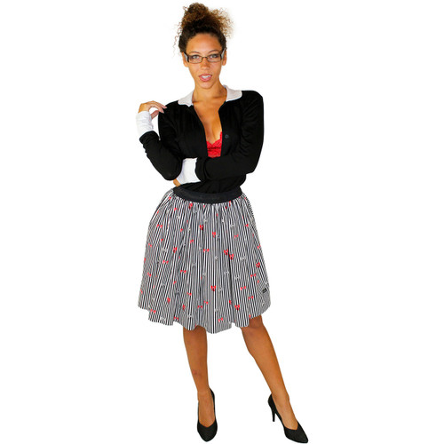 Stripes & Bows Skirt with Hidden Pockets (FXSKT-155)
