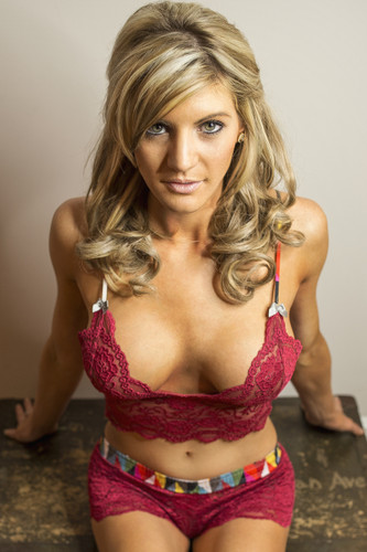 Red lace bralette with matching lace boxer shorts