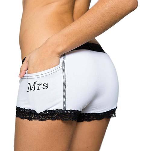 Mrs Monogrammed Women's Tuxedo Boxer Briefs | FOXERS