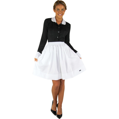 Black Button Down Top with White Cuffs & Collar | FOXERS Equestrian
