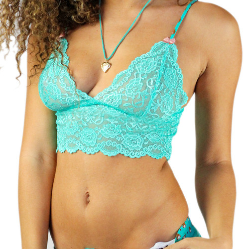 Cropped Lace Camisole | Turquoise Lace with Hedgehog Adjustable Straps (FXLAC-67140)