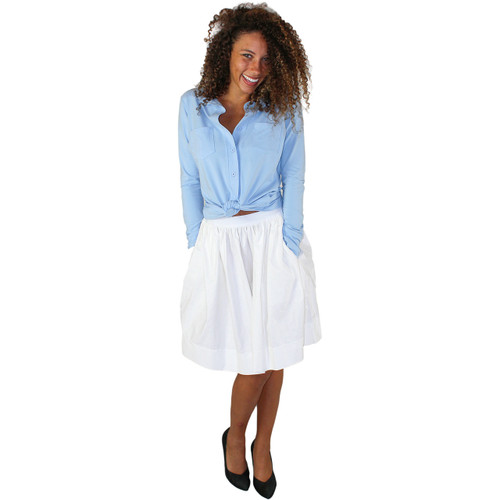 White Skirt with white dots and pockets on both sides
