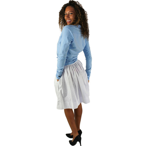 White Pocket Skirt with White Pin Dots