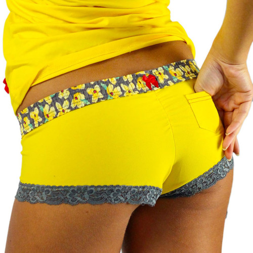 Sunshine Yellow Boyshorts Panties | Posies Waistband