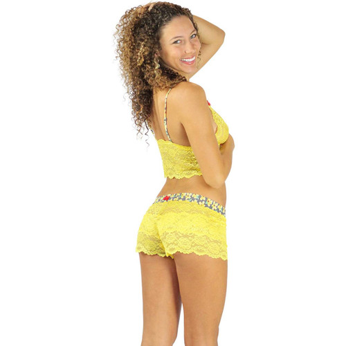 Sunshine Yellow Cropped Lace Top with Posies Straps