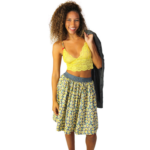 Yellow Flower Print Skirt With Pockets