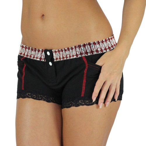 Black Boxer Briefs with Baseball Print Red Waistband