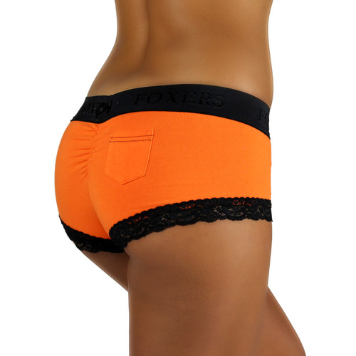 Cheeky Orange Boyshorts with Black Logo FOXERS Band