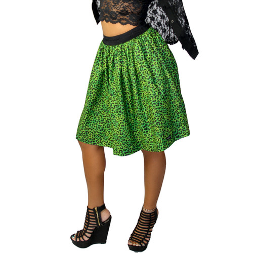 Neon Lime Cheetah Print Skirt With Pockets