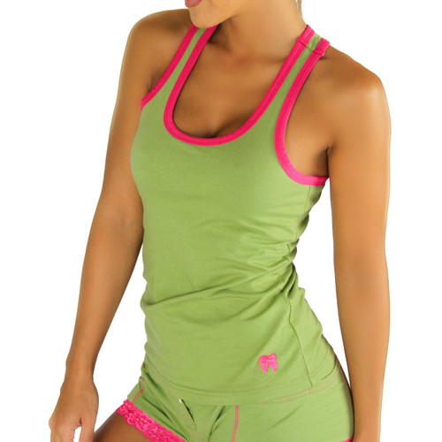 Sage Racerback Tank Top with Fuchsia Trim (FXTBT-68T24)