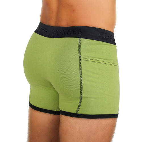 Men's Sage Green Boxer Briefs with pockets
