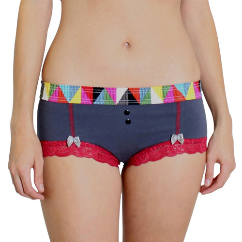 Charcoal Gray Boyshorts Kaleidoscope Waistband