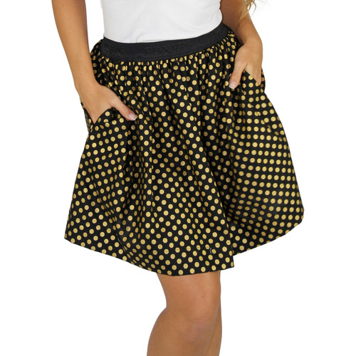 Black & Gold Polka Dot Mini Skirt With Pockets
