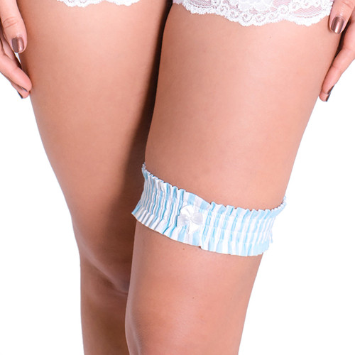 Garter - Mint Blue white stripe (One Size)